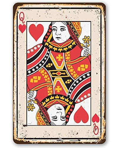 Metal Sign - Queen of Hearts Card Metal Sign - Durable Metal Sign - 8