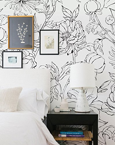 Botanical Garden Hand Drawn Flowers Mural Wall Art Wallpaper - Peel and Stick - by Simple Shapes (4 sheet pack - 2ft x 8ft) by Simple Shapes (Image #2)