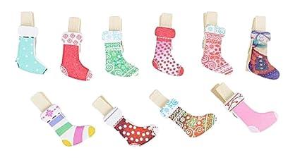 Kanggest 10pcs Mini Pinzas Madera Pequeñas Para Fotos Clips de Madera Decorativas Calcetines de navidad Ropa