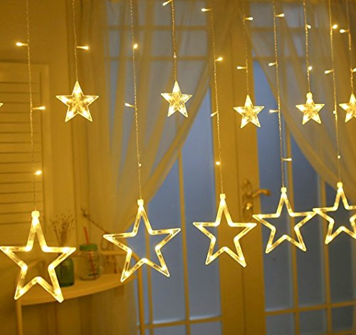 Star String Lights, Samyoung Battery Operated 12 Stars 138pcs LED Linkable Curtain String Lights, Warm White String Light for Christmas Halloween Wedding Party Backdrop (Warm Lights)