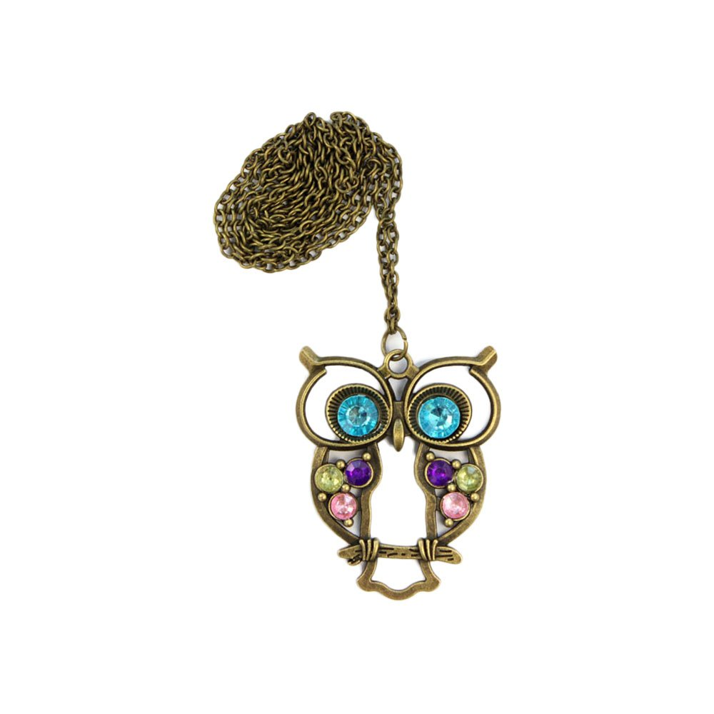 START Crystal Blue Eyed Hollow Owl Pendant Long Chain Sweater Coat Necklace