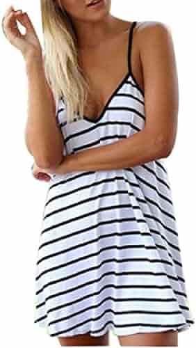 af7f6ac192 Doinshop Women Backless Dress Black and White Striped V Neck Strap Dress