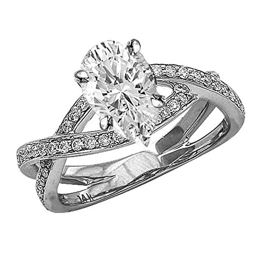 0.79 Ctw Platinum Eternity Love Criss Cross Twisting Split Shank Diamond Engagement Ring (0.5 Ct H Color VVS2 Clarity Pear Cut Center) ()