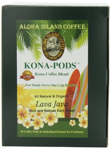 Aloha Island Coffee KONA-POD, Lava Java Dark Roast, Kona & Hawaiian Coffee Blend, 18-Count Coffee Pods