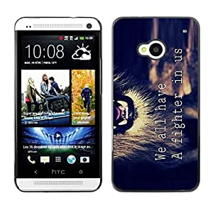 Design for Girls Plastic Cover Case FOR HTC One M7 Motivational Fighter Lion Text Quote OBBA