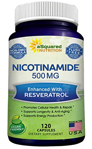 51cu YQ9DmL - Nicotinamide with Resveratrol - NAD+ Booster (120 Veggie Capsules) - Vitamin B3 500mg (Niacinamide Flush Free) - Supplement Pills to Support NAD, Anti Aging DNA Repair, Skin Cell Health & Energy