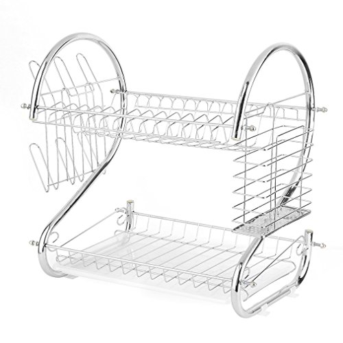 COMOTS Practical Stainless Steel 2 Tiers Kitchen Quick Dry Dish Cup Rack Drainer Drip Tray Plates Holder Removable Drip - High And Dry Rack Dish
