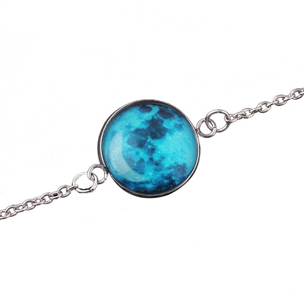 motif lune Livecity bracelet phosphorescent cabochon en verre univers fantastique long #2