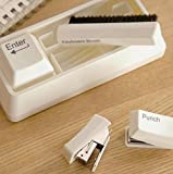 URToys 1PCS Novelty Stationery Set Desktop Mini Cute Portable Magnet Storage Punch Keyboard Brush Stapler for School Office Computer Tools
