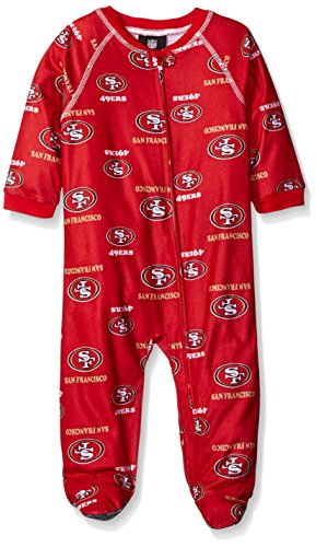 Outerstuff NFL Infant 49Ers Sleepwear All Over Print Zip Up Coverall, 24 Months, Crimson