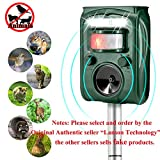 LANSONTECH Solar Animal Repeller, Humane Ultrasonic Pest Control Repellent PIR Sensor Alarm