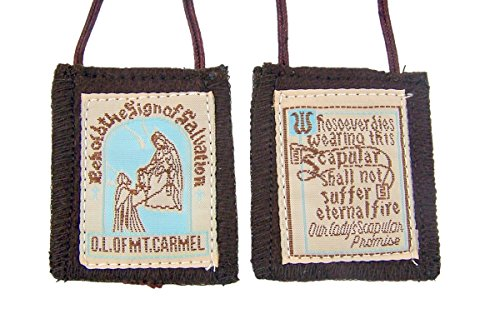Brown Genuine Wool O.L. of Mt Carmel with Our Lady's Scapular Promise, 32 Inch