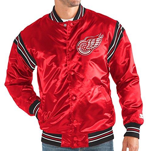 STARTER Detroit Red Wings NHL Men's The Enforcer Premium Satin Jacket (Starter Red Detroit Wings)