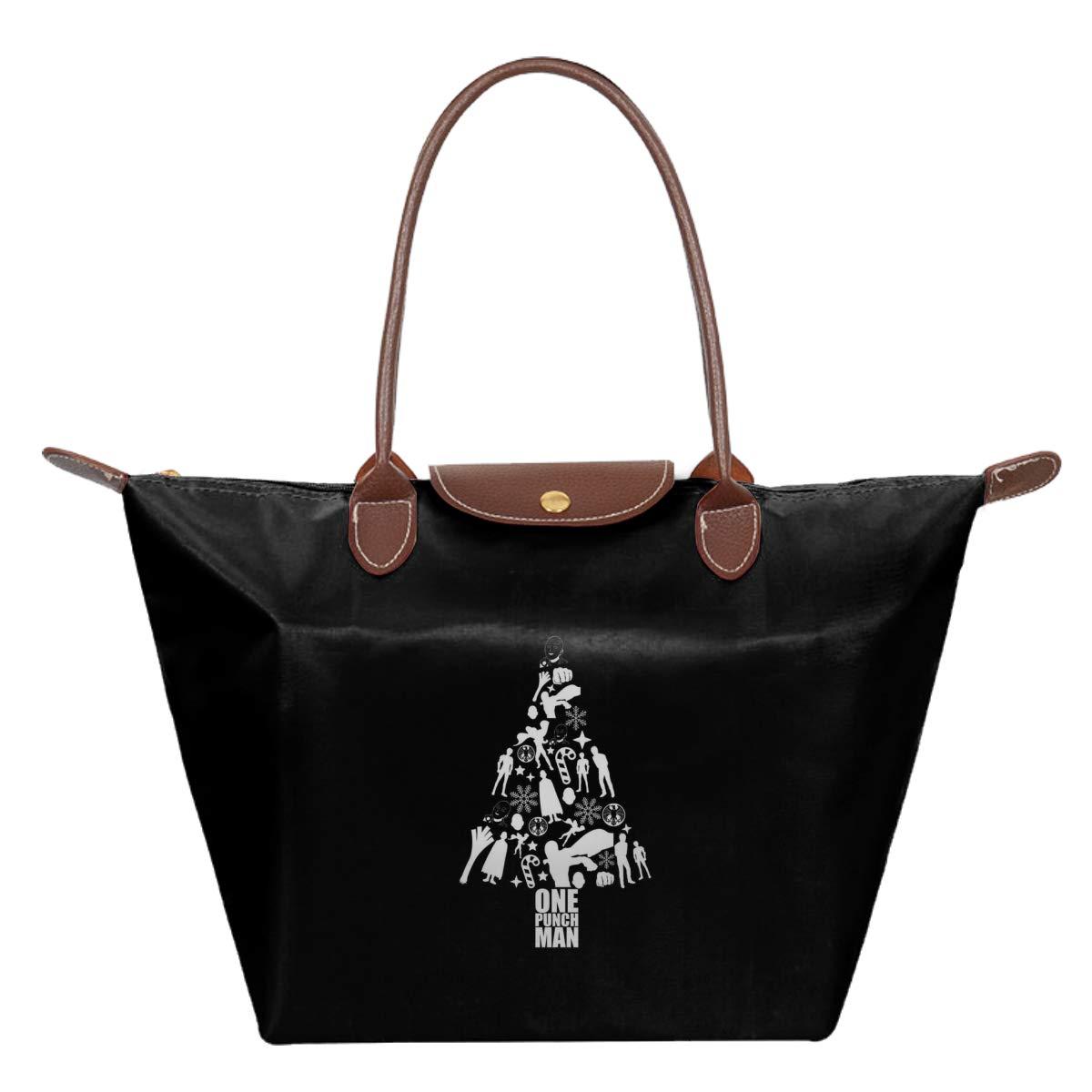 One Punch Man Christmas Silhouette Pattern Waterproof Leather Folded Messenger Nylon Bag Travel Tote Hopping Folding School Handbags