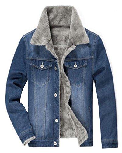 TRENDY XU Winter Men Thick Lined Jean Coats Faux Fur Coll...