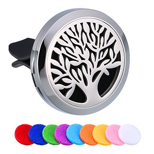 Mtlee Aromatherapy Car Essential Oil Diffuser Locket Clip Pendant with 10 Pieces Washable Felt Pads, Tree Pattern