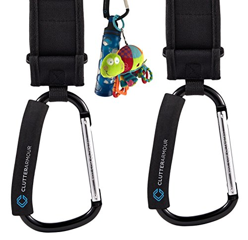 Stroller Hooks XL - Clip all your Baby Gear to the Stroller Hook - Saves you Carrying Purse, Diaper & Tote Bags - Stroller Hook Detaches Easily & is Adjustable - 2 Carabiner Clips - Fits all Strollers ()