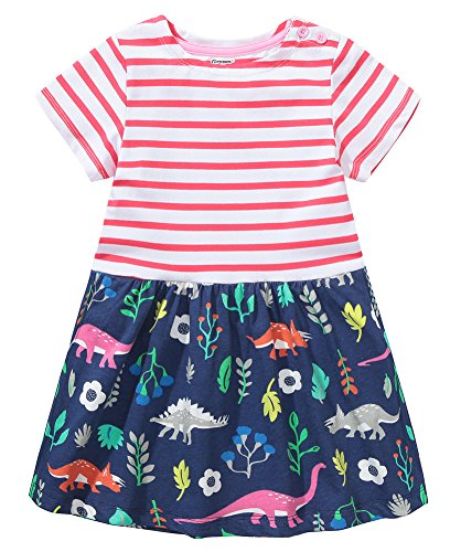 Fiream Girls Dresses,Short Sleeve Summer Cotton Striped Cute Print Pattern Casual Dress for Toddler(154Red,2T/2-3YRS) from Fiream
