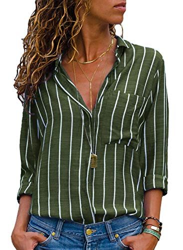 (HOTAPEI Womens Plus Size Casual V Neck Striped Button Up Chiffon Shirts and Blouses Long Sleeve Pocket Work Tops Tunic Shirts Olive Green and White 2XL)