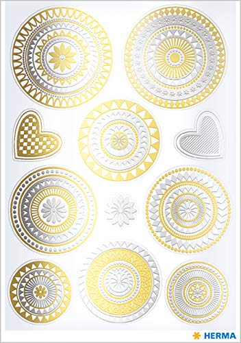 Herma 15562 Creativ Sticker Mandala Gold and Silver Foil for Children, Girls, Boys, Wedding, Birthday, Gifts, Photo Album, 11 Stickers (Best Wedding Motif For 2019)