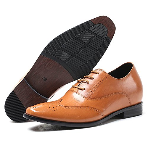 CHAMARIPA Height Increase Elevator Shoes 2.76inches Taller Men Brown Leather Classic Dress Shoes X91M03A US7.5