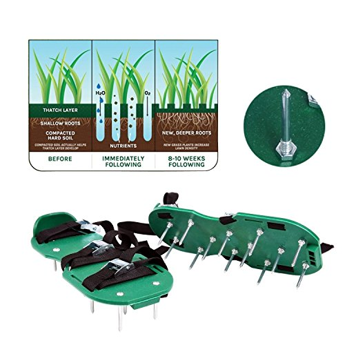 Iyaya lawn aerator shoes spikes aerator sandals for for Garden tool with spikes