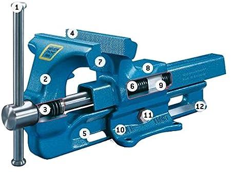 Heuer Schraubstock ganz aus Stahl geschmiedet, unzerbrechlich, Backenbreite: 120 mm, Spannweite: 150 mm 100120