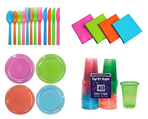 Neon Brights Assorted 16oz Cups, Beverage Napkins, 9 Inch Dinner Plates and 32 Servings Extra Heavy Duty Full Sized Cutlery (96 count) by Party Essentials; Bundled by Oasis Mercantile (Fiesta Party Plates)