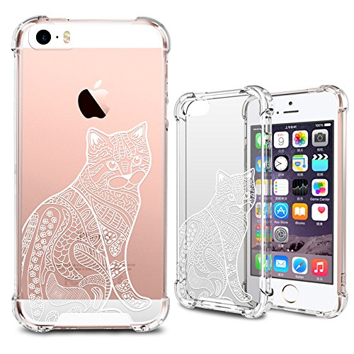 iPhone SE Case, iPhone 5S Clear Case, MISS ARTS White Floral Cat Premium Shock Absorption TPU Bumper Cushion + Scratch Resistant Clear Protective Cases Hard Cover for Apple iPhone SE 5S 5 - Cat]()