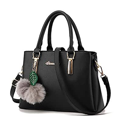 Women's Designer Top Handle Handbag Tote Crossbody Bag Pu Faux Leather Purse (Black)