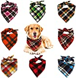 WOVTE 8 Pack Triangle Dog Bandana, Reversible Plaid Painting Bibs Scarf, Washable and Adjustable Kerchief Set for Dogs Cats Pets