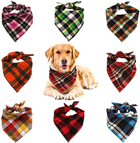 VIPITH 8 Pack Triangle Dog Bandana, Reversible Plaid Painting Bibs Scarf, Washable and Adjustable Kerchief Set for Dogs Cats Pets