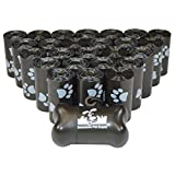 500 Pet Waste Bags, Dog Waste Bags, Bulk Poop Bags on a roll, Clean up poop bag refills - (Color: Black with Paw Prints) + FREE Bone Dispenser by Downtown Pet Supply