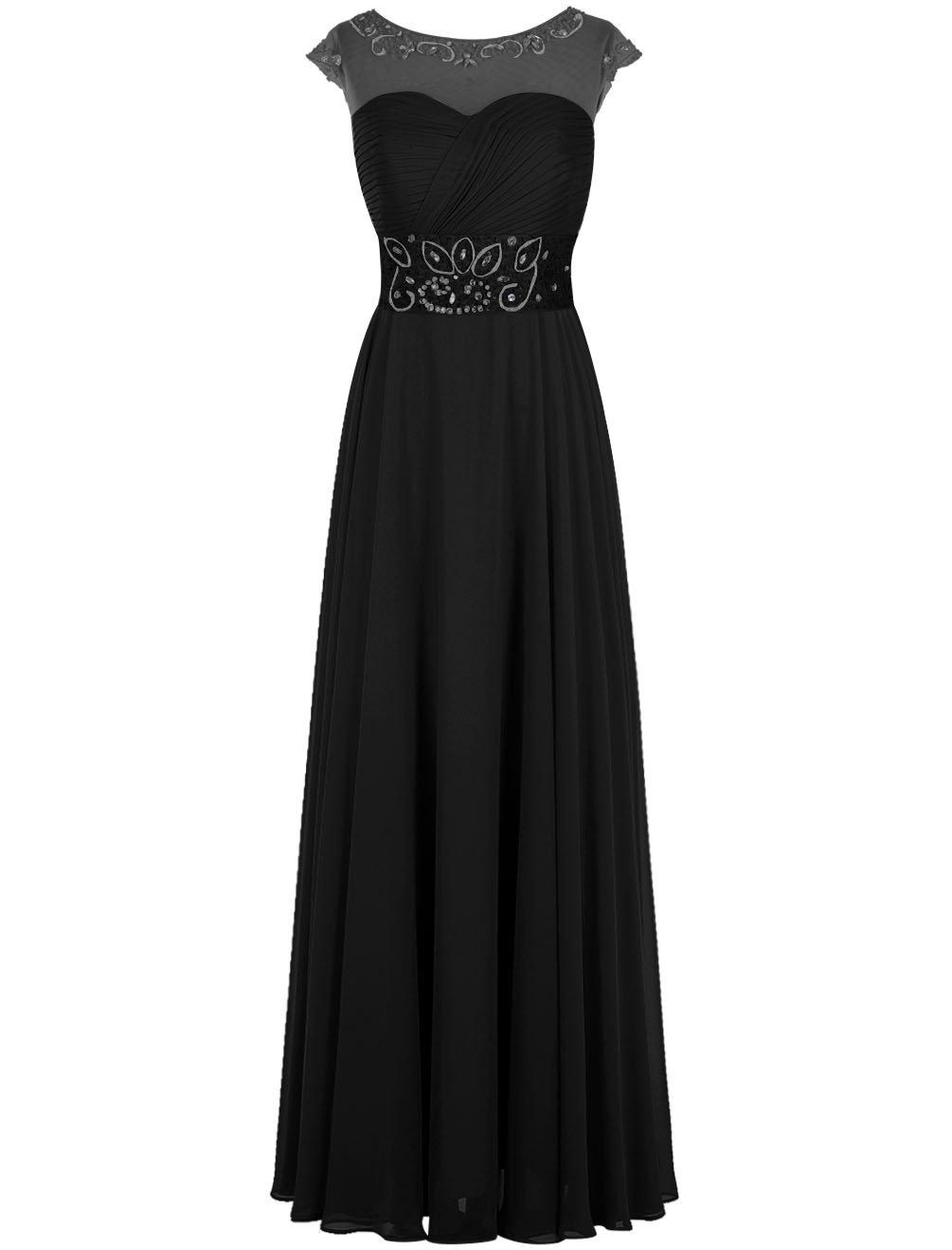 Dresstell(ドレステル) 結婚式 フォーマルドレス ビジュー付き キャップ袖 ロング丈 レディース B019MSPCW6 JP19W|ブラック ブラック JP19W
