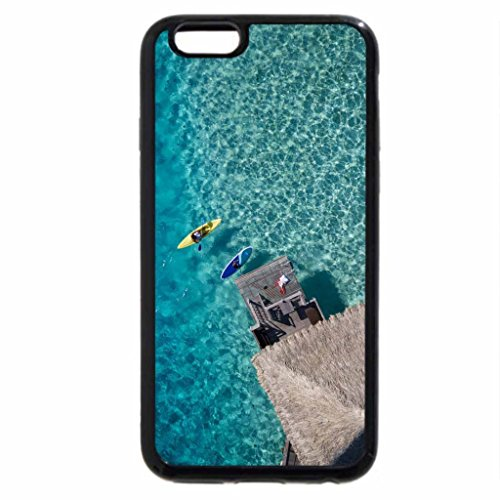 iPhone 6S / iPhone 6 Case (Black) Aerial of Water Villa & Canoe Bora Bora