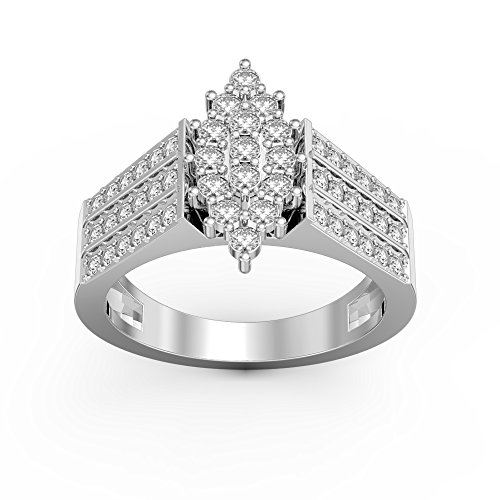 Pretty Jewellery 0.86 Ct Diamond Marquise Cluster Engagement Ring in 14K White Gold Over Sterling Silver (9)