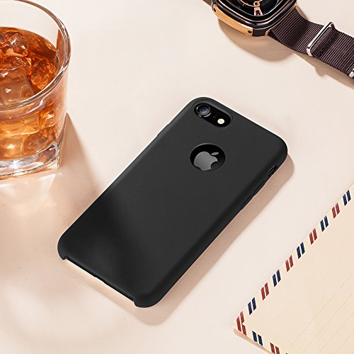 TORRAS [Love Series] iPhone 7 Case/iPhone 8 Case, Liquid Silicone Gel Rubber Shockproof Case Soft Microfiber Cloth Lining Cushion Compatible iPhone 7 / iPhone 8, Black by TORRAS (Image #4)
