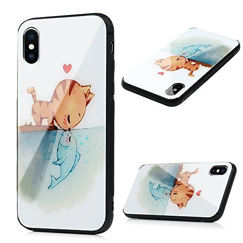 iPhone X Case, YOKIRIN Luxury Protective Smooth Painted Fish & Cat Love Tempered Glass Cover Soft Rubber Shockproof TPU Bumper Frame Hard PC Bumpe Back Skin Shell for iPhone X - Ray Shell Hot