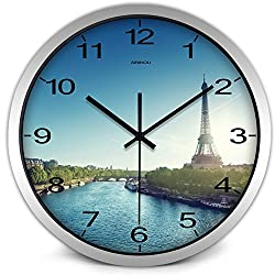 Airinou Eiffel Tower Wall Clock Paris City Center Seine River Scenery Tourism Home Decoration Gift for Men Women No Ticktock Sound (12inch, Silver)