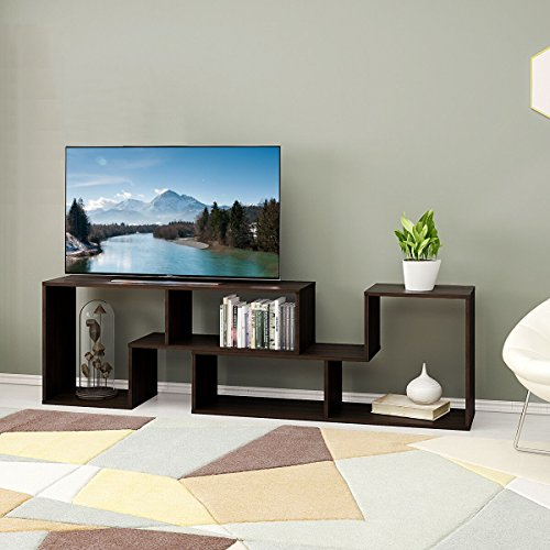 3-in-1 Versatile TV Stand Bookcase Display Cabinet by DEVAISE (New Style-Dark Oak (0.6″ thickness))