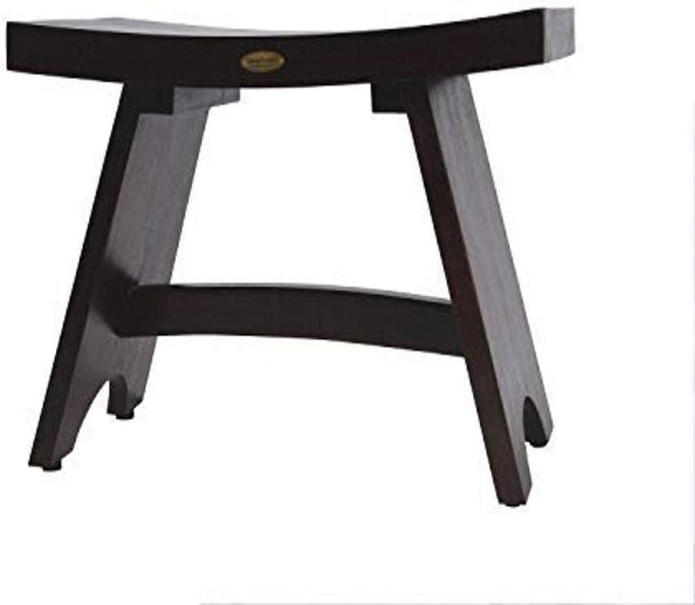 "Decoteak (Patent Pending) Serenity Eastern Style 24"" Teak Shower Bench Stool (Fully Assembled) - Bathroom, Bath"