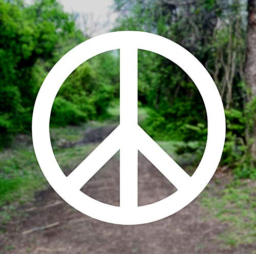Peace Sign Symbol [Pick Any Color] Vinyl Transfer Sticker Decal for Laptop/Car/Truck/Window/Bumper (3in x 3in (Laptop Size), White) (Laptop Decals Peace Signs)