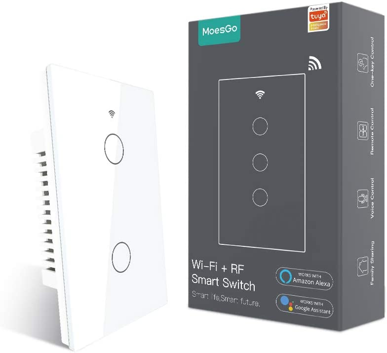 MoesGo WiFi RF433 Smart Touch Wall Switch No Neutral Wire Needed, Single Wire Smart Switch Compatible with Smart Life/Tuya App, Works with Alexa and Google Home 110V Single Pole White 2 Gang