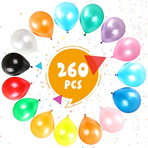 LOVESTOWN 260 Pcs Assorted Color Balloons, Latex Balloons 12 Inches Rainbow Balloons Colorful Party Balloons for Party Decorations Birthday Parties Supplies Arch Decor