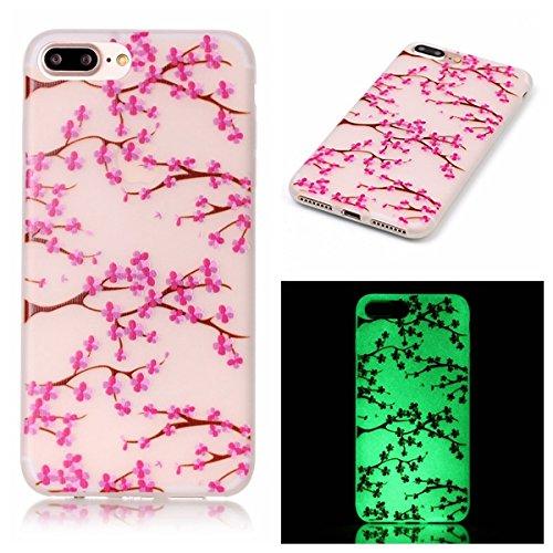 iPhone 7 / 8 Plus Hülle mit Fluoreszenz , Modisch Kirschbaum Transparent TPU Silikon Schutz Handy Hülle Handytasche HandyHülle Etui Schale Schutzhülle Case Cover für Apple iPhone 7 / 8 Plus