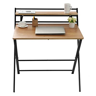 Small Folding Desk Computer Desk for Small Space Home Office Simple Laptop Writing TableNo Assembly Required (Khaki): Kitchen & Dining