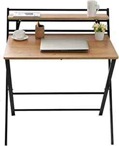 Folding Study Desk, Folding Laptop Table Home Corner Desks Simple Computer Desk with Shelf for Small Space Home Office (Khaki)