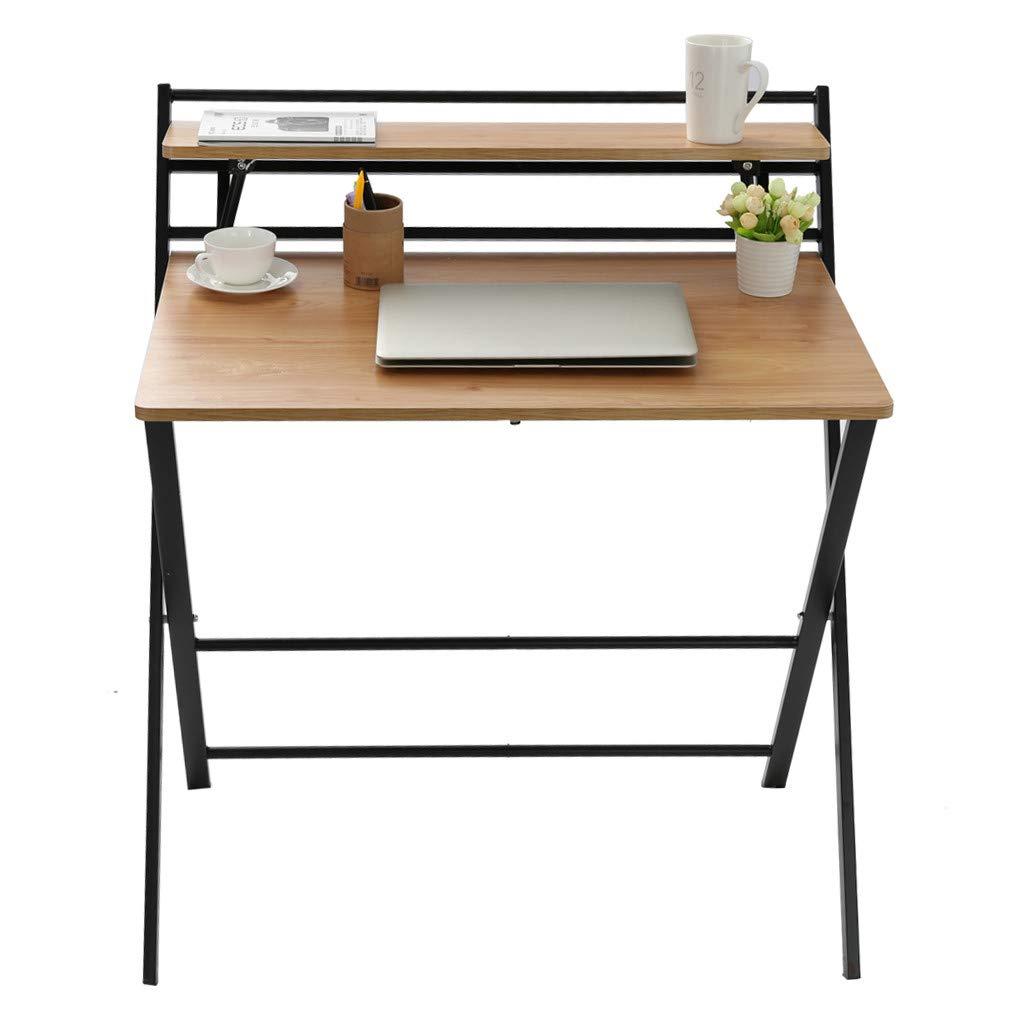 Small Folding Desk Computer Desk for Small Space Home Office Simple Laptop Writing Table No Assembly Required (Khaki)
