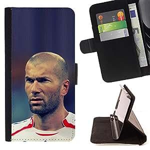 KingStore / Leather Etui en cuir / Samsung Galaxy S4 Mini i9190 / ZIDANE FÚTBOL FÚTBOL LEYENDA