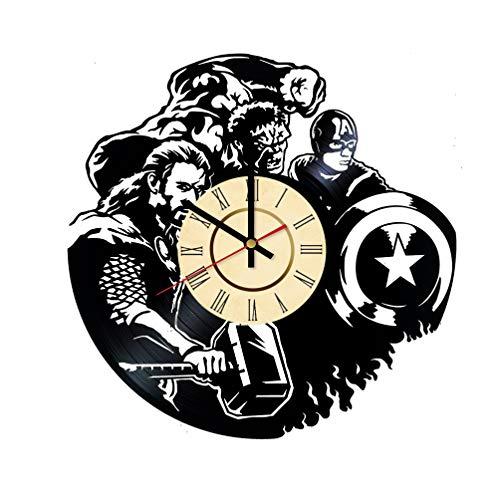 - Thor Vinyl Clock Gift for Captain America Fans Marvel Comics Wall Decor Hulk Art Avengers Superhero Team Living Room Artwork